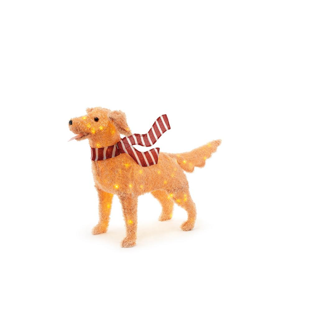 Home accents holiday 48in 120l led fuzzy golden retriever for Led christmas decorations