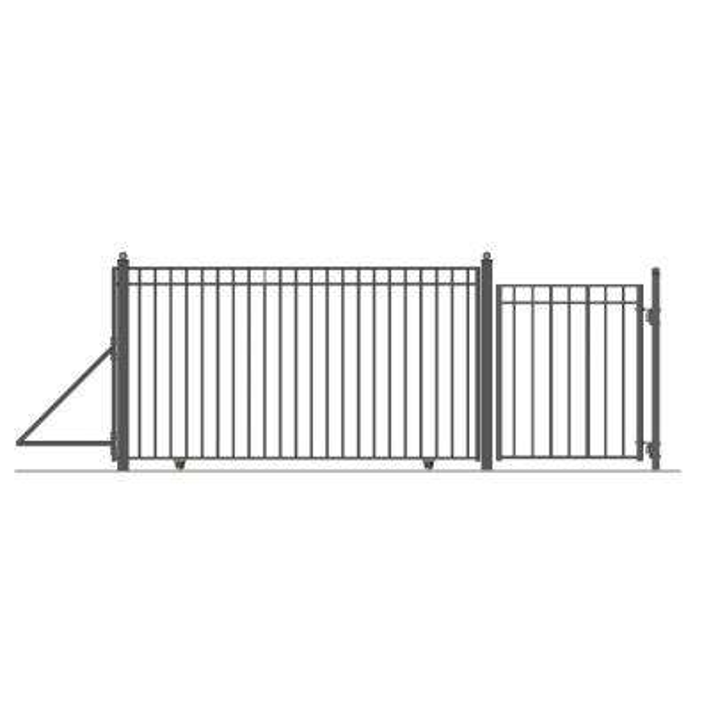 Madrid Style 12 ft. x 6 ft. Black Steel Single Slide Driveway Gates with Single Walk Fence Gate
