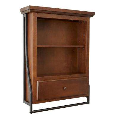 Leighton Bathroom Collection 21.63 in. W 2-Tier Wall Shelf with Drawer in Brown