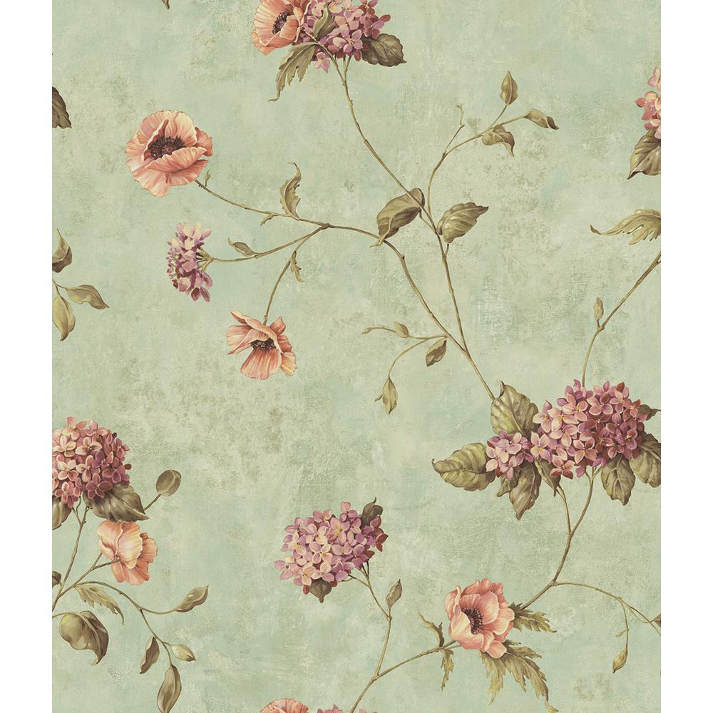 Henrietta Blue Hydrangea Floral Trail Wallpaper