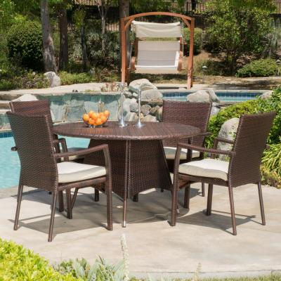 Palmers Multi-Brown 5-Piece Wicker Outdoor Dining Set