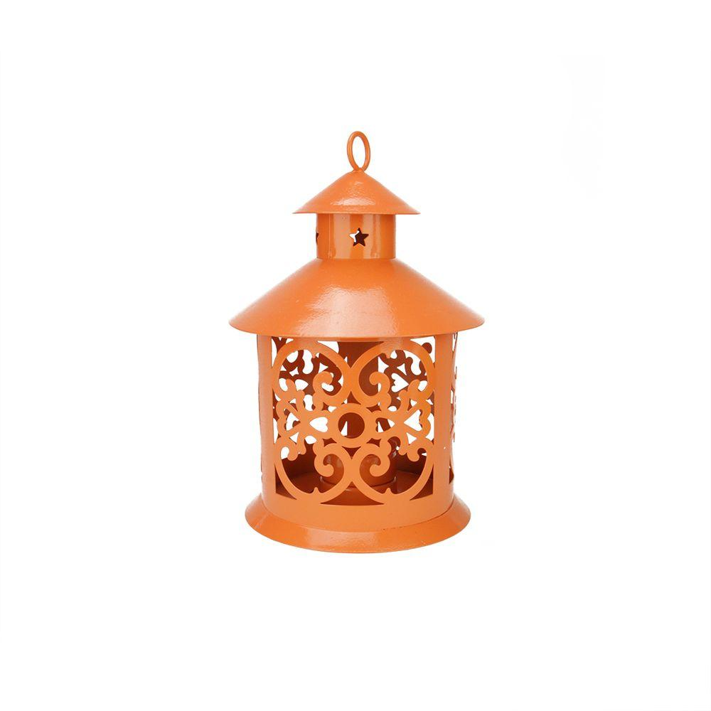 Shiny Orange Votive Or Tealight Candle Holder Lantern With Star And Scroll
