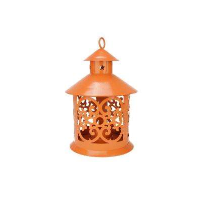 8 in. Shiny Orange Votive or Tealight Candle Holder Lantern with Star and Scroll Cutouts