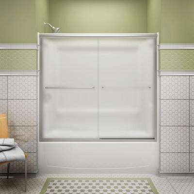 Finesse 59-5/8 in. x 58-1/16 in. Semi-Frameless Sliding Bathdoor in Frosted Nickel with Handle