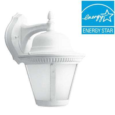 Clearance outdoor lighting lighting the home depot westport collection 1 light outdoor white led wall lantern workwithnaturefo