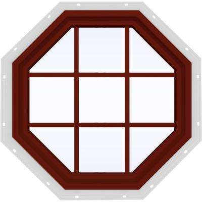 35.5 in. x 35.5 in. V-4500 Series Fixed Octagon Vinyl Window with Grids - Red