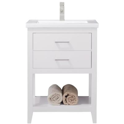 Cara 24 in. W x 18 in. D Bath Vanity in White with Porcelain Vanity Top in White with White Basin