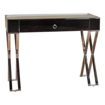 Brilee Clear Glass Console Table with Drawer