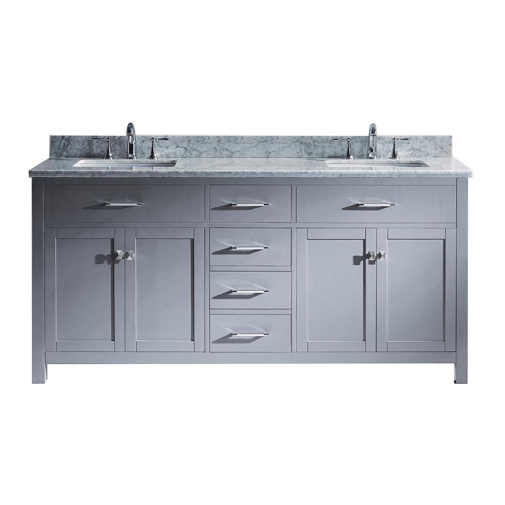 Virtu USA Caroline 72 in. W Bath Vanity in Gray with Marble Vanity Top in White with Square Basin