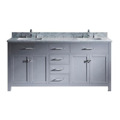 Caroline 72 in. W Bath Vanity in Gray with Marble Vanity Top in White with Square Basin