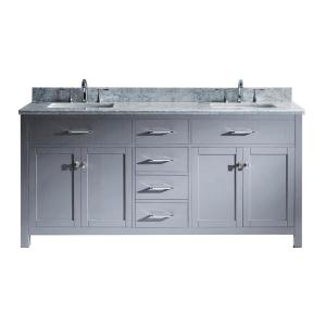 Virtu USA Caroline 72 inch W x 22 inch D Double Vanity in Gray with Marble Vanity Top in White with White Basin by Virtu USA