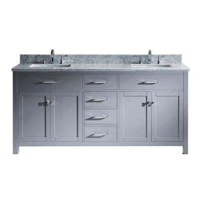 Caroline 72 in. W x 22 in. D Double Vanity in Gray with Marble Vanity Top in White with White Basin