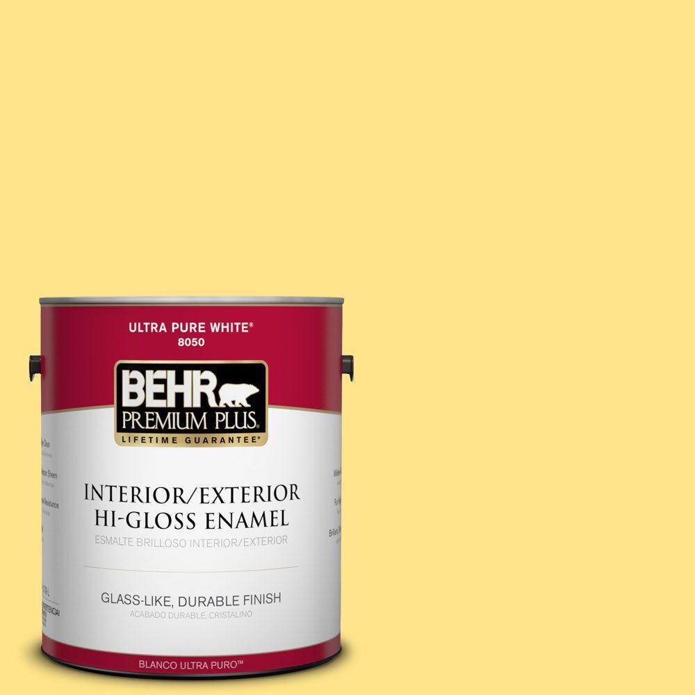 BEHR Premium Plus 1-gal. #370A-3 Bicycle Yellow Hi-Gloss Enamel Interior/Exterior Paint