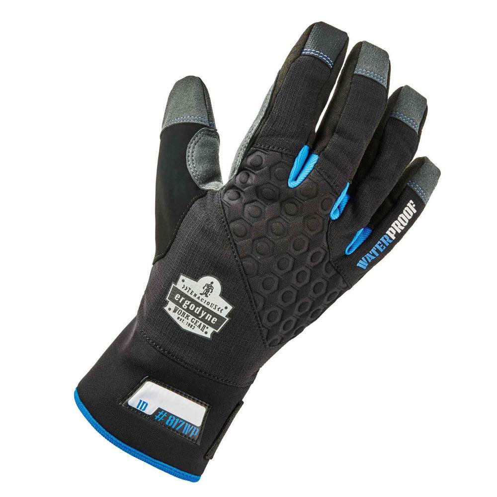 Ergodyne Ergodyne Large Black Reinforced Thermal Waterproof Utility Gloves, Adult Unisex