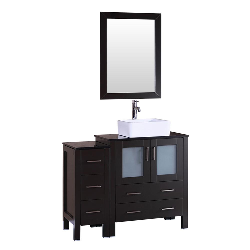 42 in. W Single Bath Vanity with Tempered Glass Vanity Top