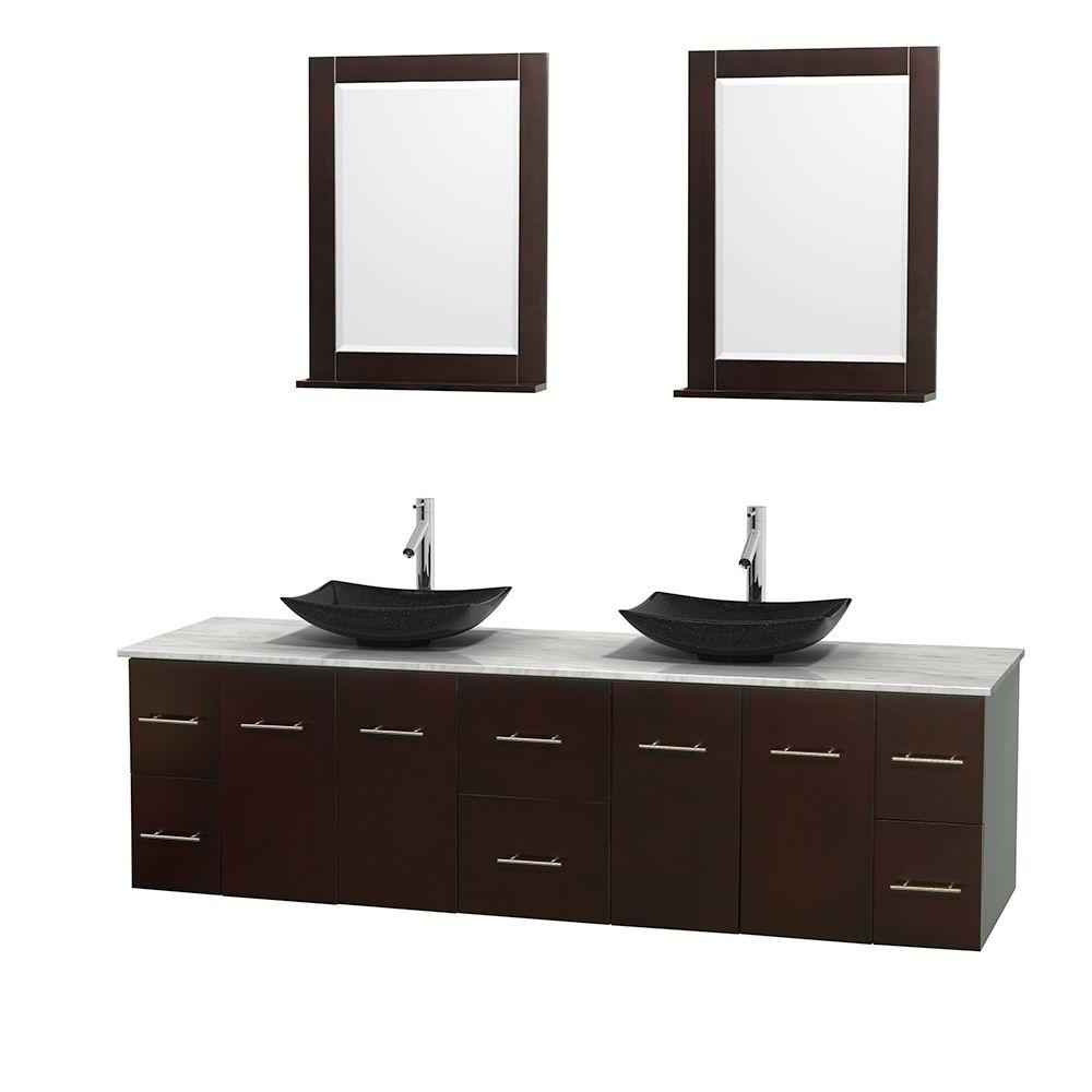 Stupendous Wyndham Collection Centra 80 In Double Vanity In Espresso With Marble Vanity Top In Carrara White Black Granite Sinks And 24 In Mirror Home Interior And Landscaping Pimpapssignezvosmurscom