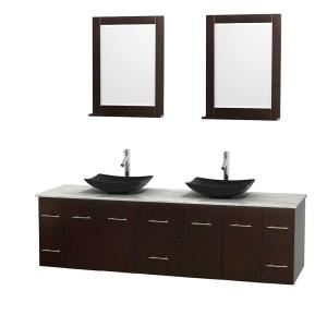 Wyndham Collection Centra 80 inch Double Vanity in Espresso with Marble Vanity Top in Carrara White, Black Granite Sinks... by Wyndham Collection