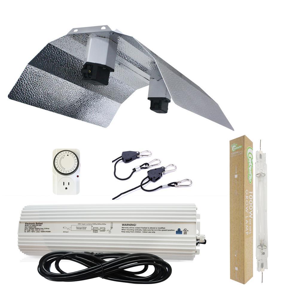 1000-Watt Double Ended HPS 120-Volt/240-Volt Grow Light System with DE Basic Wing Grow Light Reflector