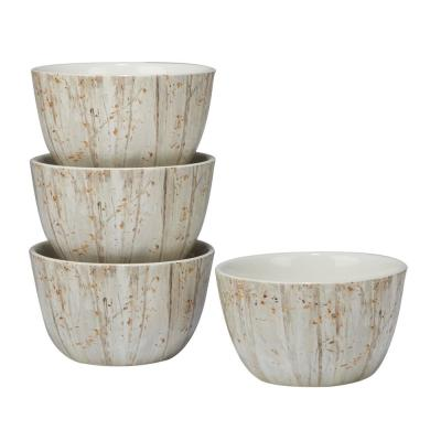 A Woodland Walk 5.5 in. x 3 in. 4-Piece Grey and Sepia Ice Cream Bowl Set