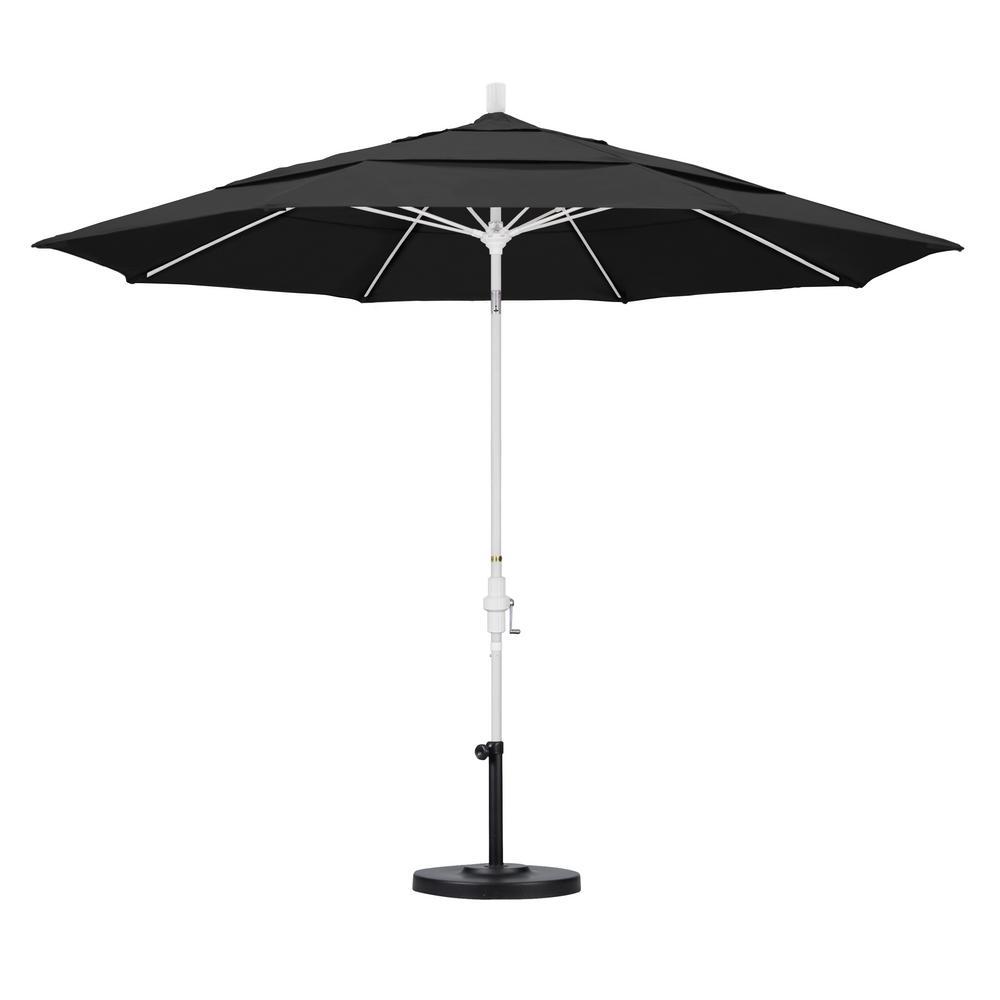 11 ft. Fiberglass Collar Tilt Double Vented Patio Umbrella in Black Pacifica