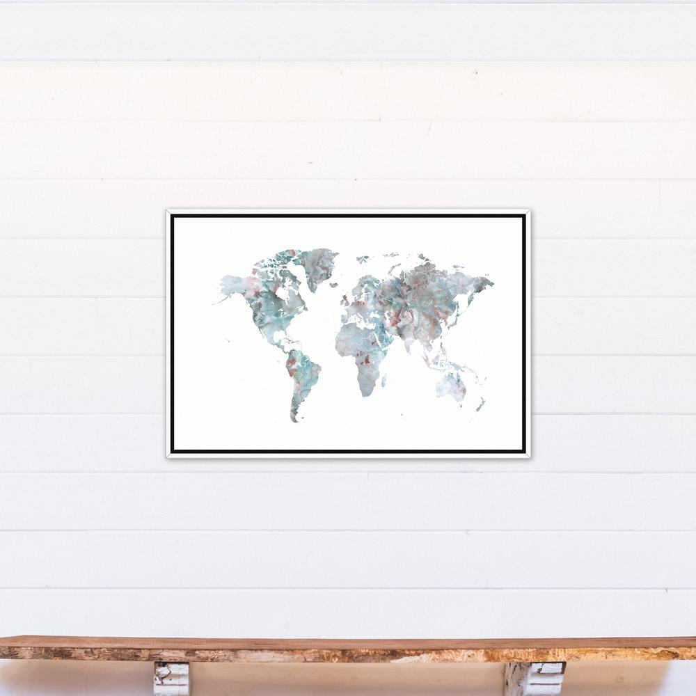 24 in. x 36 in. ''Greige World Map'' Printed Framed Canvas