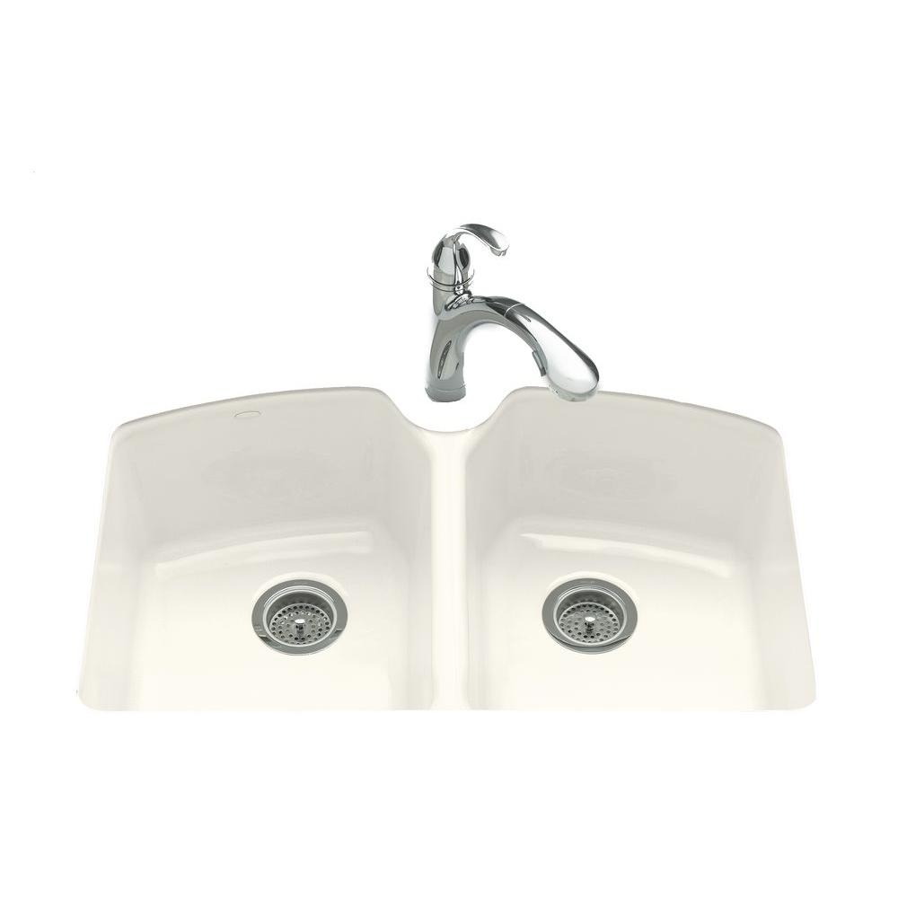KOHLER Tanager Undermount Cast-Iron 33 in. 3-Hole Double Bowl Kitchen Sink in Biscuit