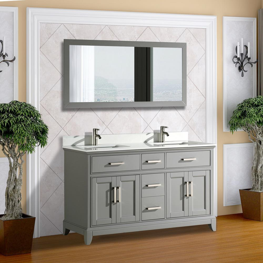 Vanity Art Genoa 60 in. W x 22 in. D x 36 in. H Bath Vanity in Grey with Vanity Top in White with White Basin and Mirror
