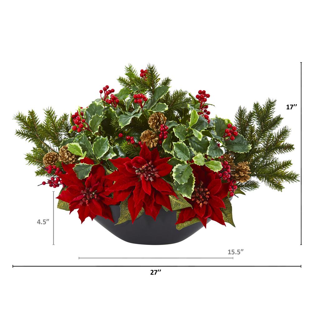 Nearly Natural 17 In Poinsettia Holly Berry And Pine Artificial