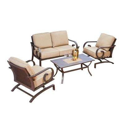 Milano 4-Piece Patio Deep Seating Set with Tan Cushions