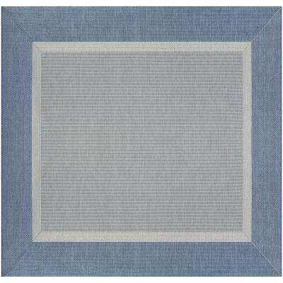 Recife Stria Texture Champagne-Blue 8 ft. x 8 ft. Square Indoor/Outdoor Area Rug