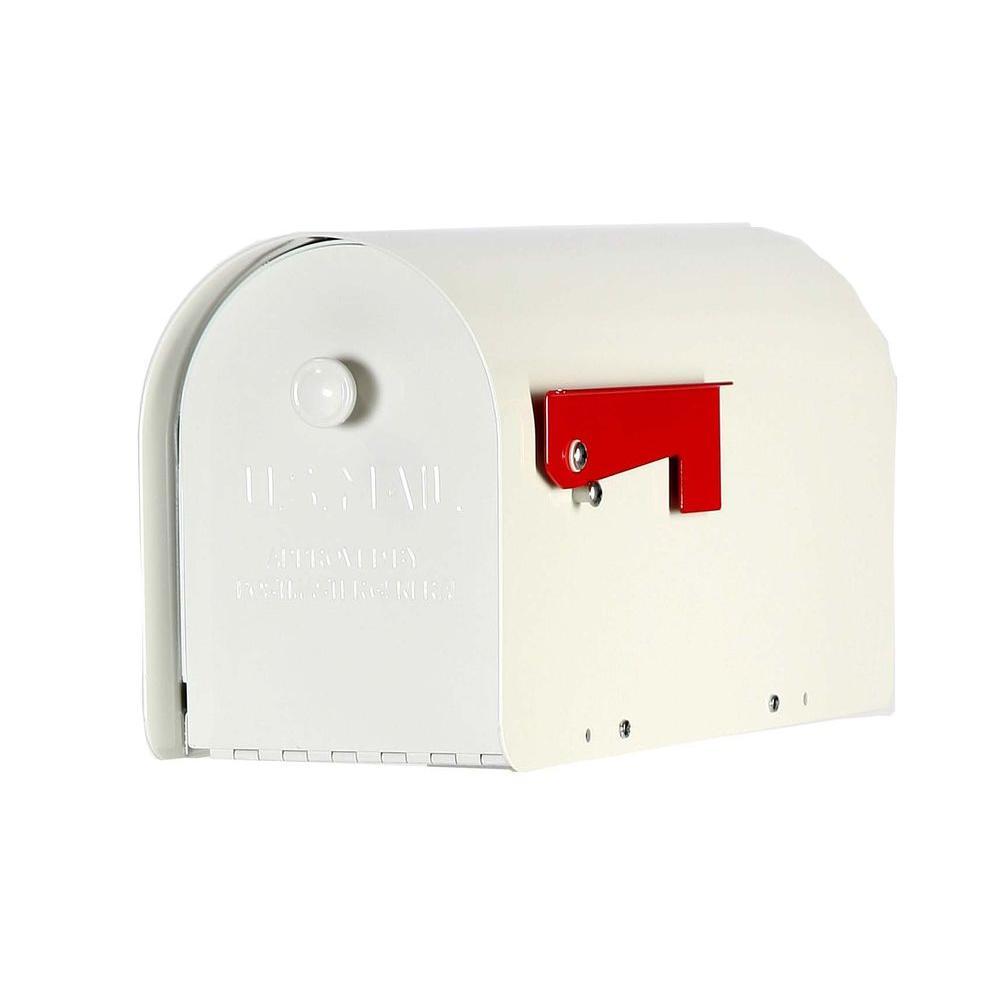 Tuff Body Post-Mount Mailbox in White