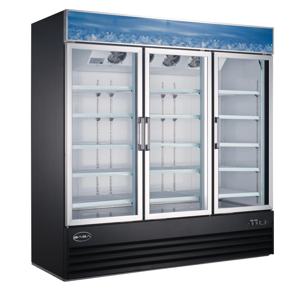 78 in. W 63 cu. ft. Three Glass Door Merchandiser Commercial Refrigerator in Black