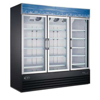 78 in. W 63 cu. ft. Three Glass Door Merchandiser Commercial Refrigerator in Black