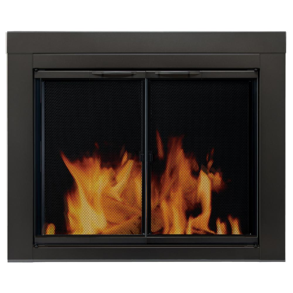 Delightful Pleasant Hearth Alpine Large Glass Fireplace Doors AN 1012   The Home Depot