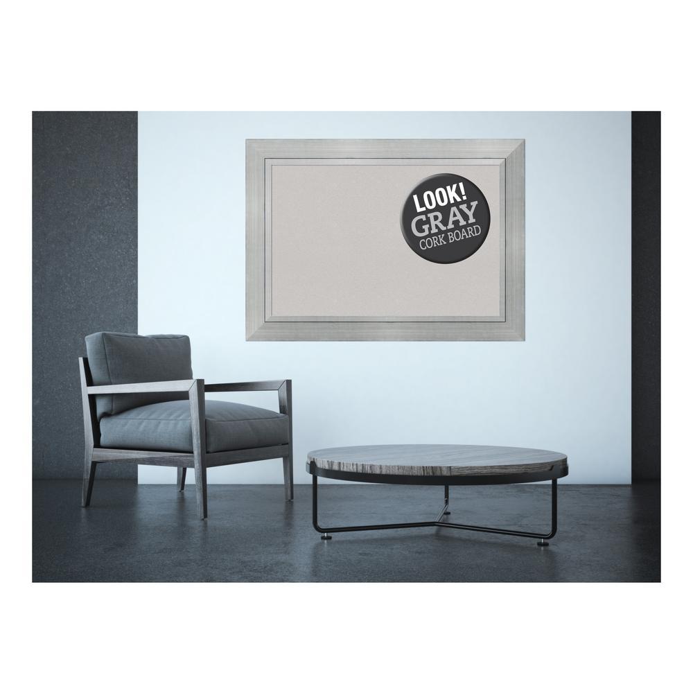 Romano Silver Wood 44 in. x 32 in. Framed Grey Cork Board