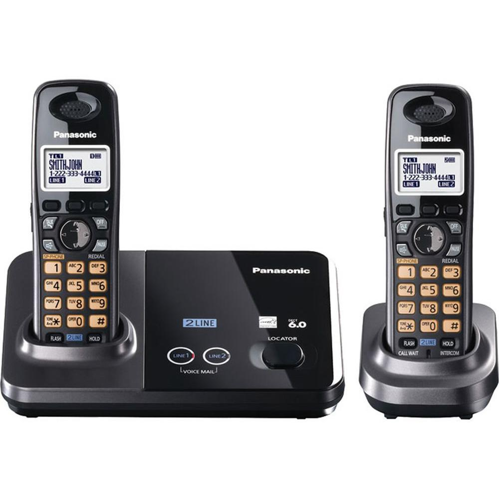 Panasonic DECT 6.0+ 2 Line Cordless Phone with Caller ID, Handset Speakerphone and 2 Handsets