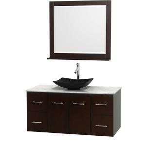 Wyndham Collection Centra 48 inch Vanity in Espresso with Marble Vanity Top in Carrara White, Black Granite Sink and 36... by Wyndham Collection