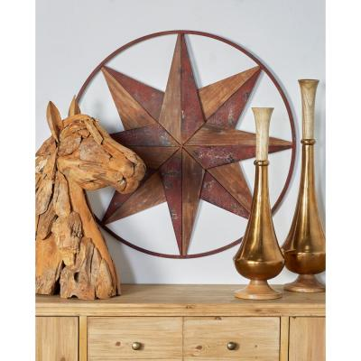 Litton Lane Iron Brown Circular Framed 8-Point Star Metal Work