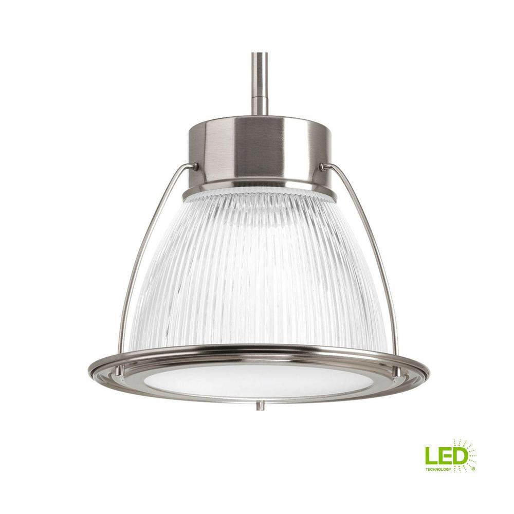 Progress Lighting 1 Light Brushed Nickel Integrated Led Mini Pendant With Clear Prismatic Gl Shade