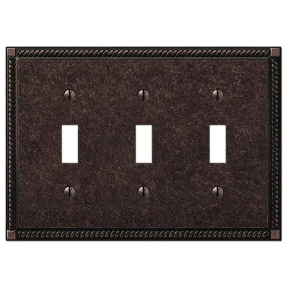 Georgian 3 Toggle Wall Plate, Aged Bronze