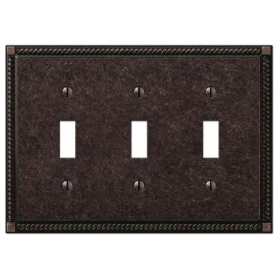 Georgian 3 Gang Toggle Metal Wall Plate - Tumbled Aged Bronze
