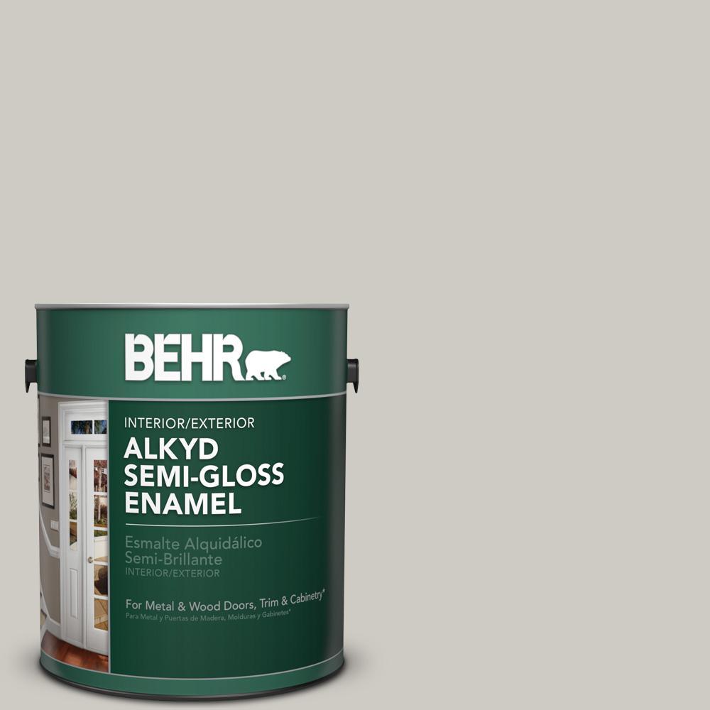 1 gal. #BNC-05 Ground Fog Semi-Gloss Enamel Alkyd Interior/Exterior Paint