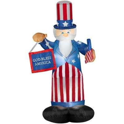 6 ft. Airblown Uncle Sam with Flag and Banner Inflatable