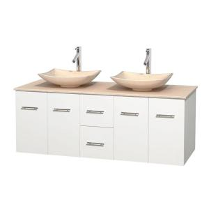 Wyndham Collection Centra 60 inch Double Vanity in White with Marble Vanity Top in Ivory and Sinks by Wyndham Collection