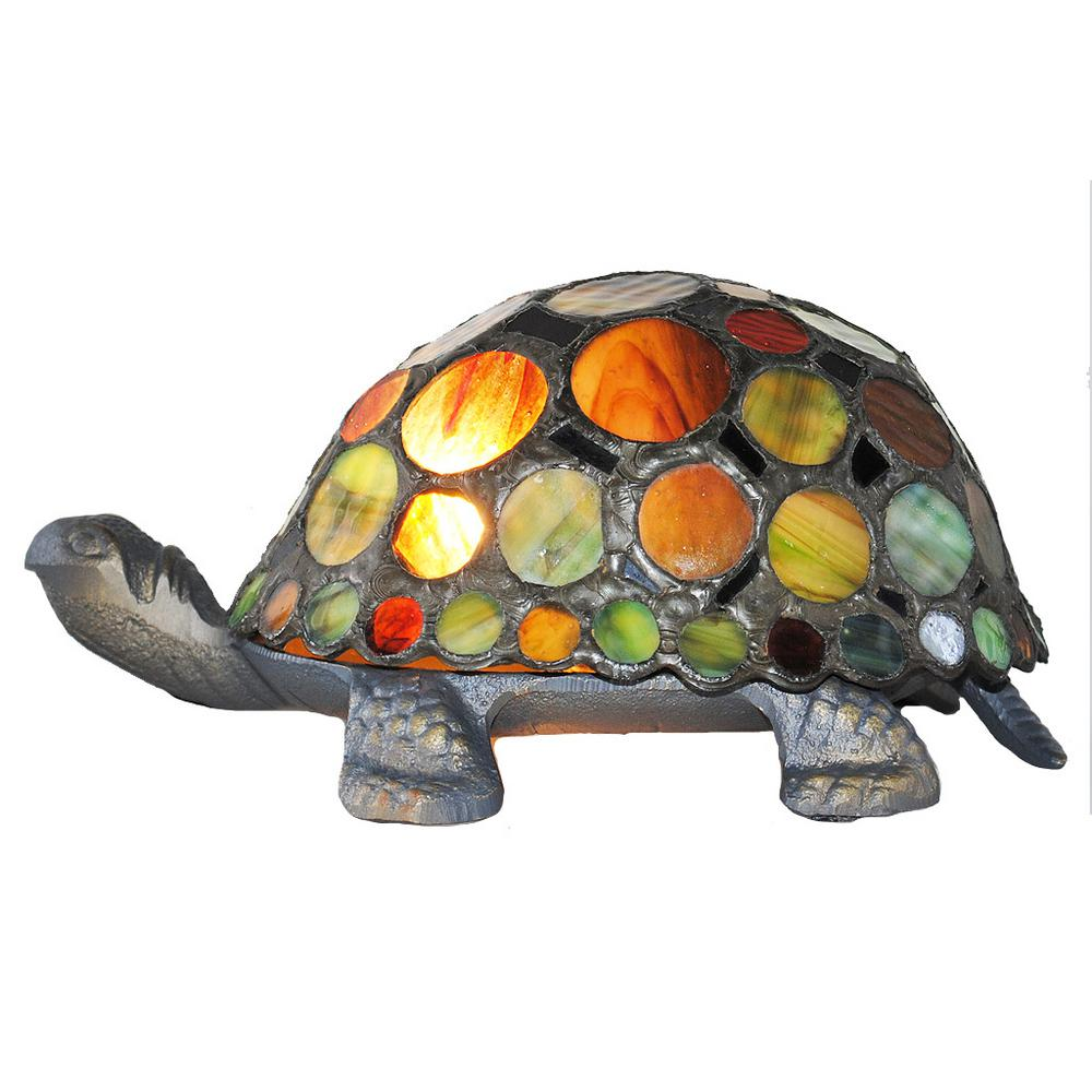 Multi Colored Lamp With Stained Gl Spotted Turtle Shade