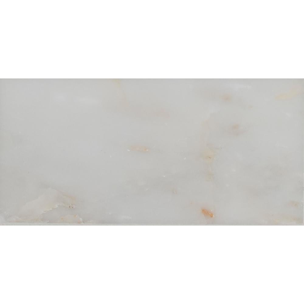 Polished white marble floor tiles