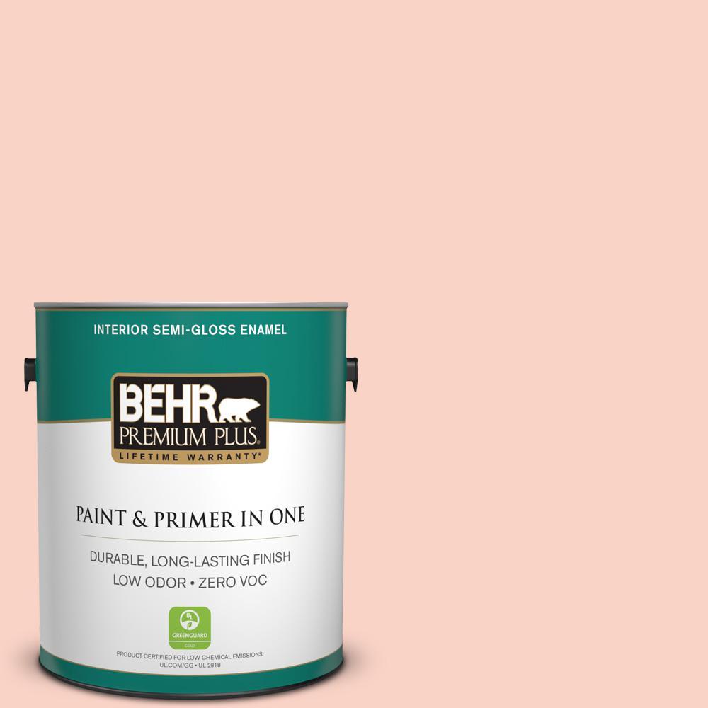 BEHR Premium Plus 1-gal. #210A-2 Coral Dune Zero VOC Semi-Gloss Enamel Interior Paint