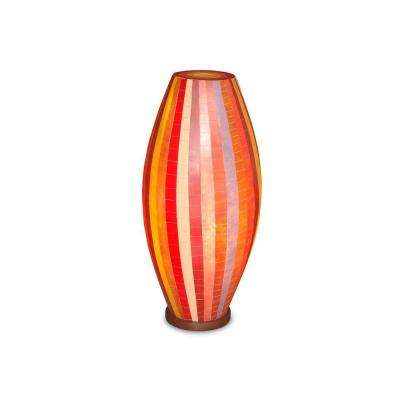 Mirabelle 26 in. Brown, Red and Cream Multicolor Mosaic Table Lamp