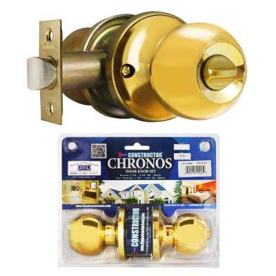 Polished Brass Finish Privacy Bed/Bath Door Knob Set