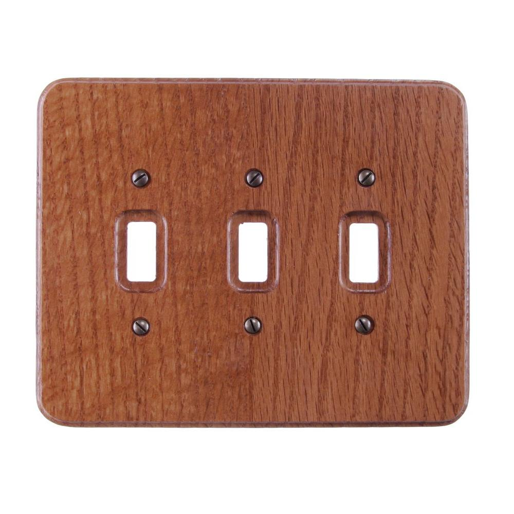 Amerelle Heritage 3 Toggle Wall Plate - Red Oak